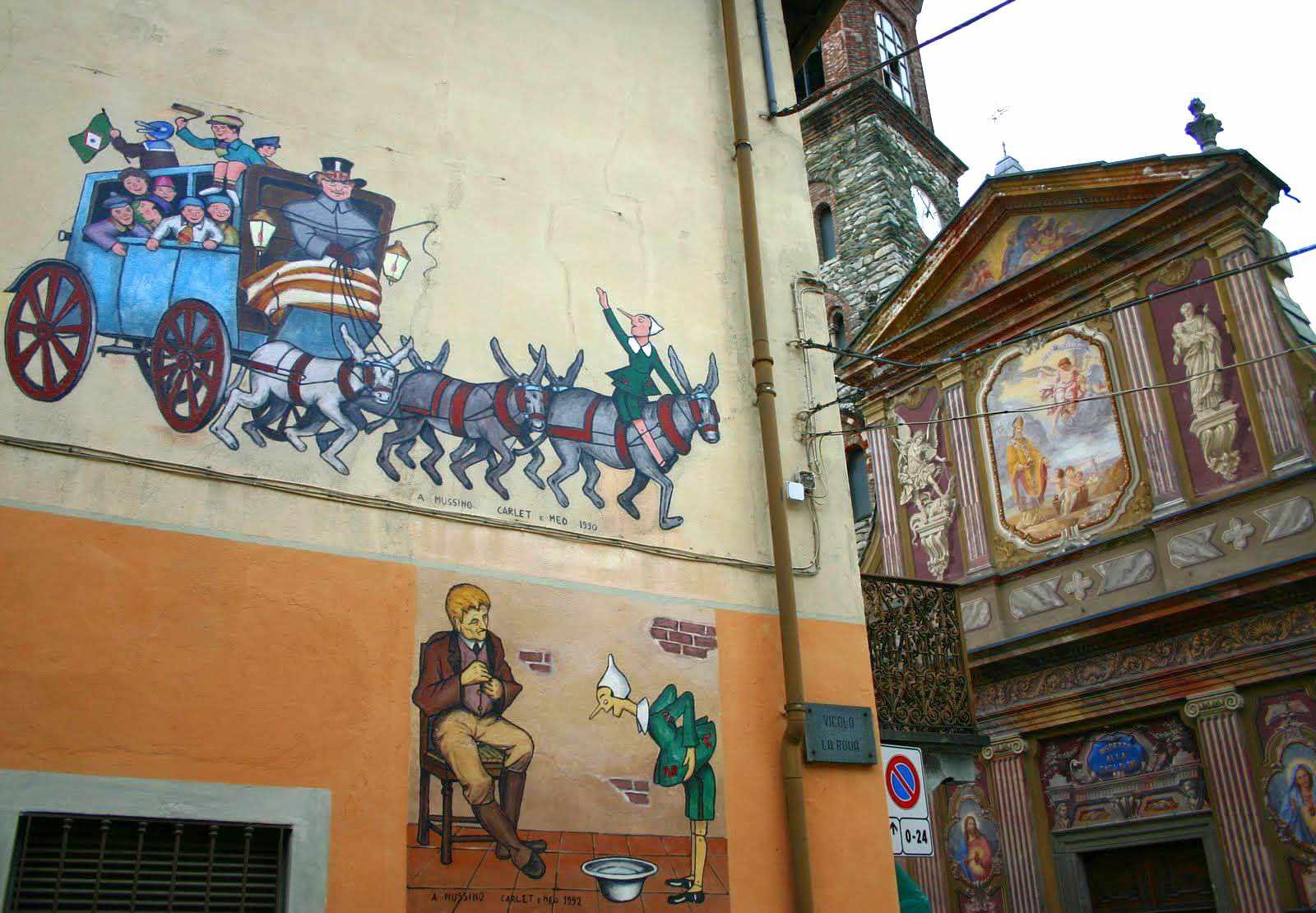 I murales di Pinocchio a Vernante, un burattino e una app per il turismo dolce
